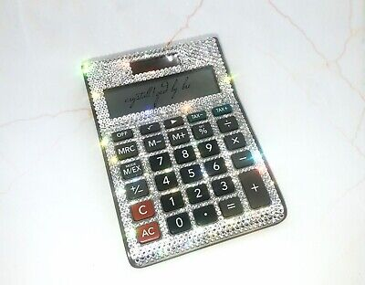 Custom Crystallized Desktop Calculator Office Work Bling With Swarovski Crystals