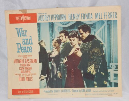 War and Peace Movie Lobby Card Hepburn, Fonda, Ferrer 1956