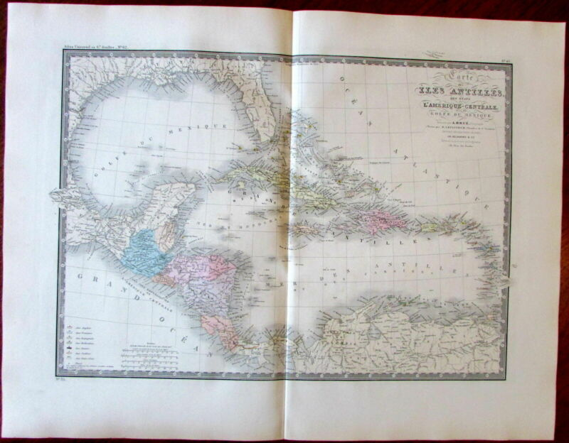 Caribbean islands Central America Belize Colony 1862 Brue lovely large old map