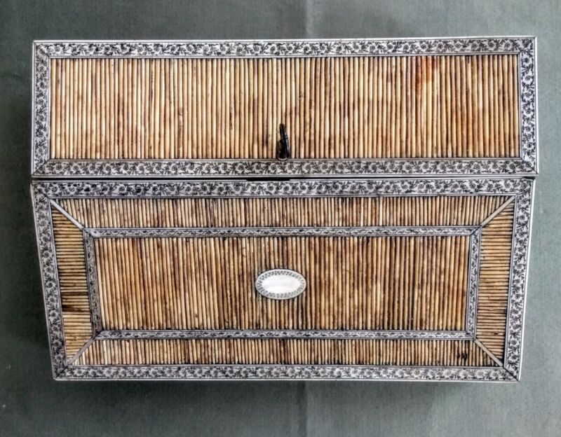 Antique 19thC Anglo Indian Ceylon Porcupine Quill Writing Slope