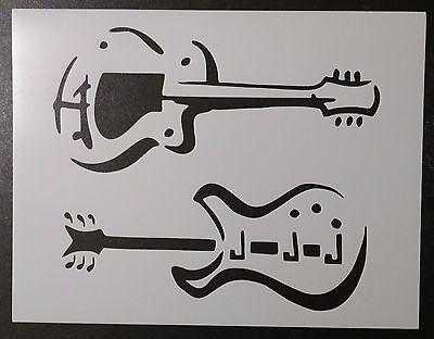 "Guitar Guitars 11"" x 8.5"" Custom Stencil FAST FREE SHIPPING"