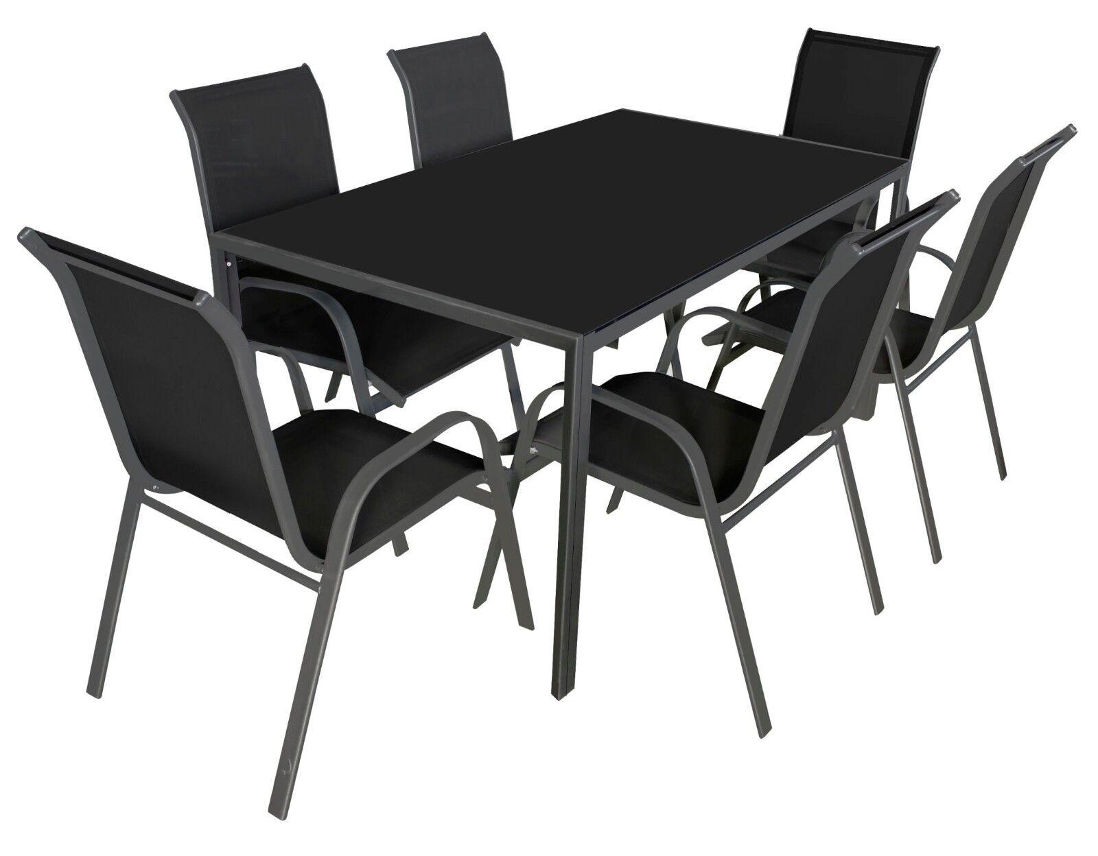 Sitzgruppe Gartenset Gartentisch 160 x 90 x 72 Glastisch mit 4 oder 6 Stühlen