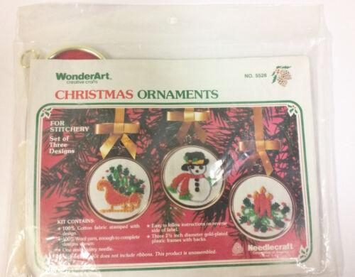 SET OF 3 VINTAGE WONDERART CHRISTMAS ORNAMENTS KIT SNOWMAN SLEIGH CANDLES NEW