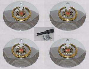 4 CAP DEAL VOGUE GOLD CHROME 99-02106 CADILLAC WHEEL RIM CENTER CAPS W/ LOCKS