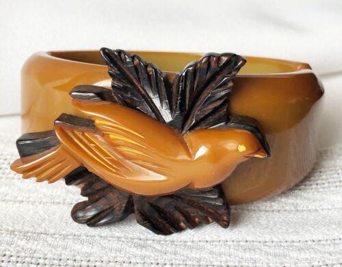 Rare Vintage Carved Bird Bakelite Clamper/Wood Leaf Bangle Bracelet, Tested