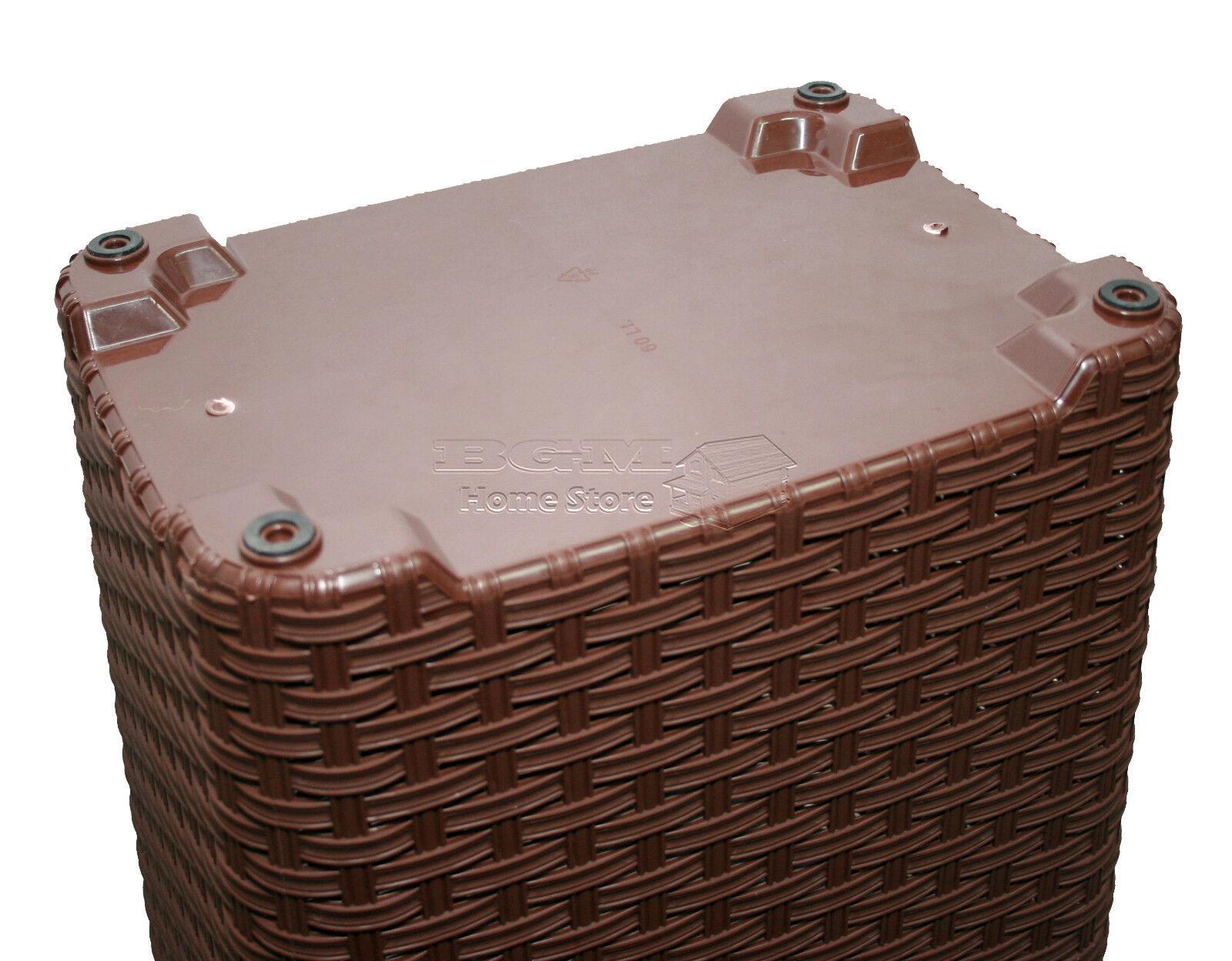 Dark Brown 60l Woven Style Rattan Plastic Laundry Basket