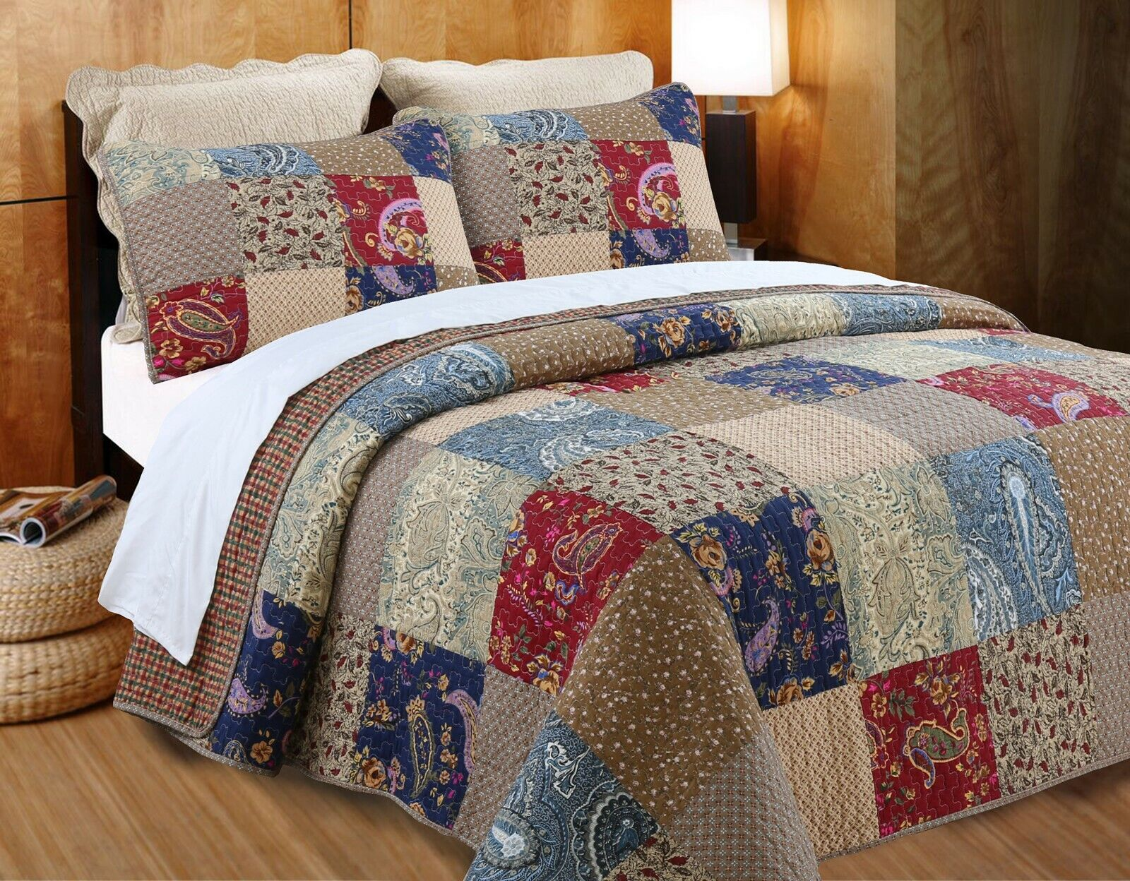 hyler patchwork cotton 3 piece reversible quilt