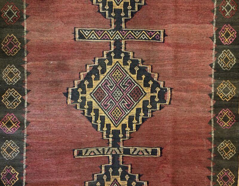 Amazing Azerbaijani - 1900s Vintage Kilim Rug - Tribal Flatweave - 4.10 X 12 Ft.