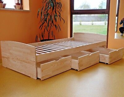 Massivholz Bett (Kinderbett Funktionsbett Einzelbett Kojenbett Jugendbett 90x200 VOLL-MASSIVHOLZ)