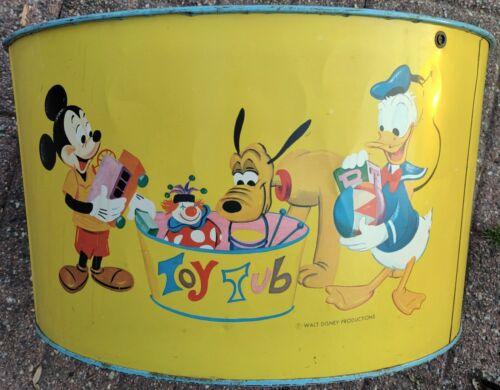 Vintage/Rare Walt Disney Prod Metal Litho 11x20 Toy Tub w/Mickey-Donald-Pluto