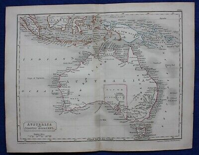 Original antique atlas map AUSTRALIA AND ADJACENT ISLANDS, Samuel Butler, 1844