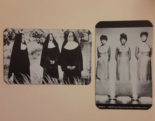"""2 DIANA ROSS - THE SUPREMES  as """"NUNS"""" 1986 MOTOWN 4"""" X 2 1/2"""" B/W CARDS # 3"""