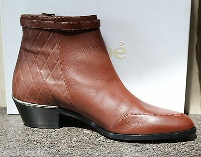 NIB CHLOE QUILTED Nappa Brown Leather Ankle Short Cowboy Zipper Boots Shoes 395