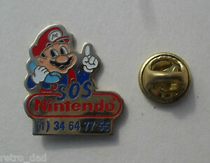 Super-Mario-Bros-SOS-Nintendo-RARE-Promo-Enamel-PIN-BADGE-Pins-Pins-Collectable
