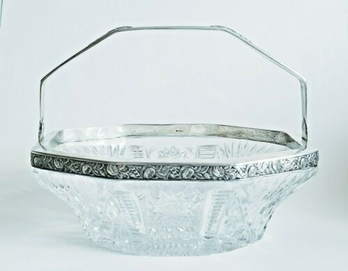 Antique Polish Silver Crystal Large Basket Bowl