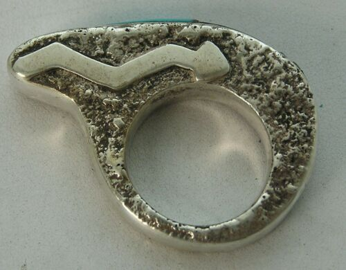 Unusual Zuni Fetish Abstract Bear Shape w/ Snake Symbol Sterling Turquoise Ring
