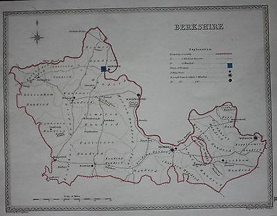 Original antique map BERKSHIRE POLITICAL Samuel Lewis, J&C Walker, c.1835