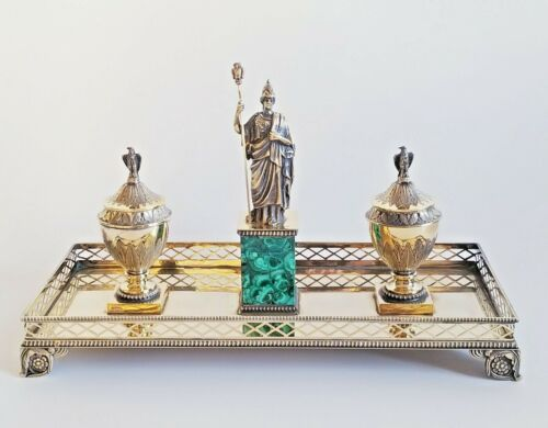 Large 19C Empire Style Continental Gilt Sterling Silver Malachite Inkwell Set