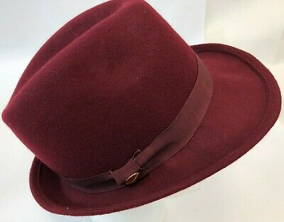 Womens Juicy Couture USA Cranberry Red Designer Wool Felt Dent Fedora Hat Cap OS - Juicy Couture Designer Hats