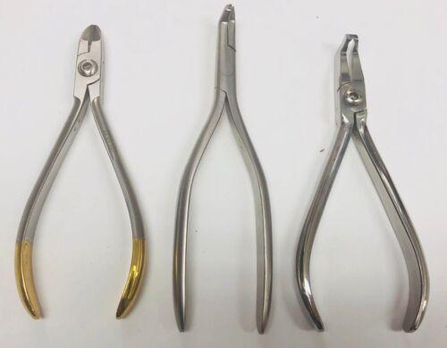 Set x 3 Orthodontic Plier / LIGATURE CUTTER / NITI CINCH / BRACKET REMOVER / USA
