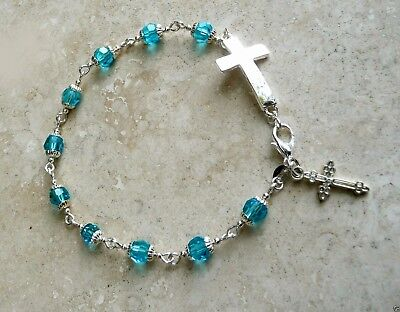 Aquamarine Crystal #5000 Antique & Sterling Silver Rosary Bracelet
