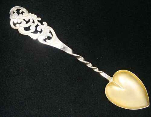 "Ornate Pierced Gold Wash Heart Bowl Sterling Silver Souvenir Spoon 4 1/4"""