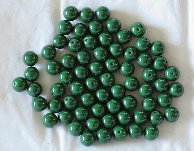69 perles rondes en porcelaine - 6 mm - vert foncé - Loisirs créatifs Customiser