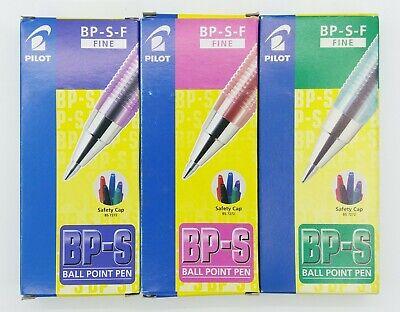 Pilot Bp-s 0.7mm Fine Ball Point Pen 12 Green 12 Pink 12 Purple C