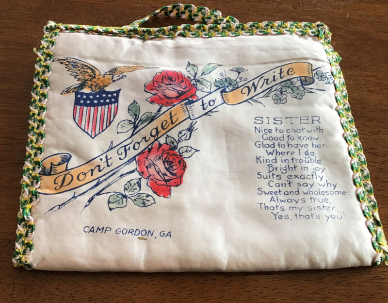 Antique Handkerchief Holder From WWI Camp Gordon -Sent To A Sister