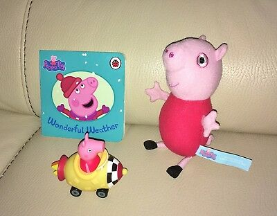 Set of Peppa Pig Merchandise including Toy on wheels, Peppa Soft Toy and Book