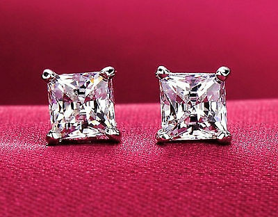 4 Ct. Princess Cut Created Diamond Stud Earrings 14K White Gold Square Solitaire