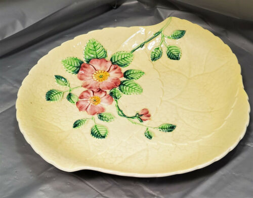 "Vintage CARLTON WARE Art-Deco Style WILD ROSE Serving Dish Bowl Pale 10""x9""x1"""