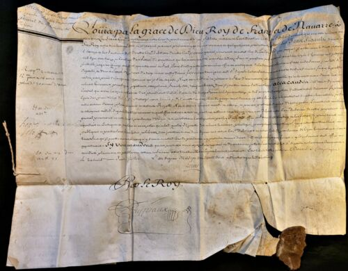 KING LOUIS XV AUTOGRAPH ON PARCHMENT LETTER OF HONOR 1733 Rey Luis XV de Francia