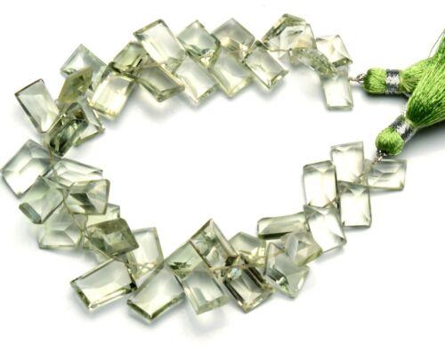 """Natural Gem Brazil Green Amethyst Prasiolite Faceted Slice Beads 8"""" 146Cts."""