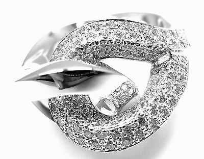 Rare! Authentic Hermes 18k White Gold Diamond Free Style Twisted Band Ring