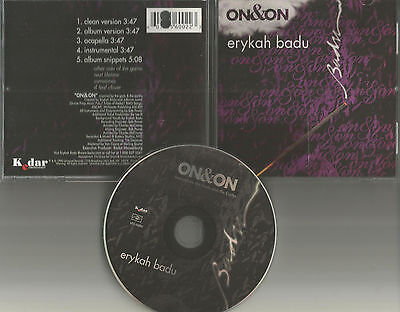 Erykah Badu On   On And 5Trx Promo Clean   Instrumental   Acapella Usa Cd Single