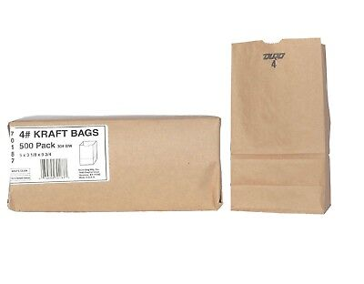 Duro Bag 4 Brown Kraft 500 Ct. Paper Grocery Bags Sack Lunch Merchandise