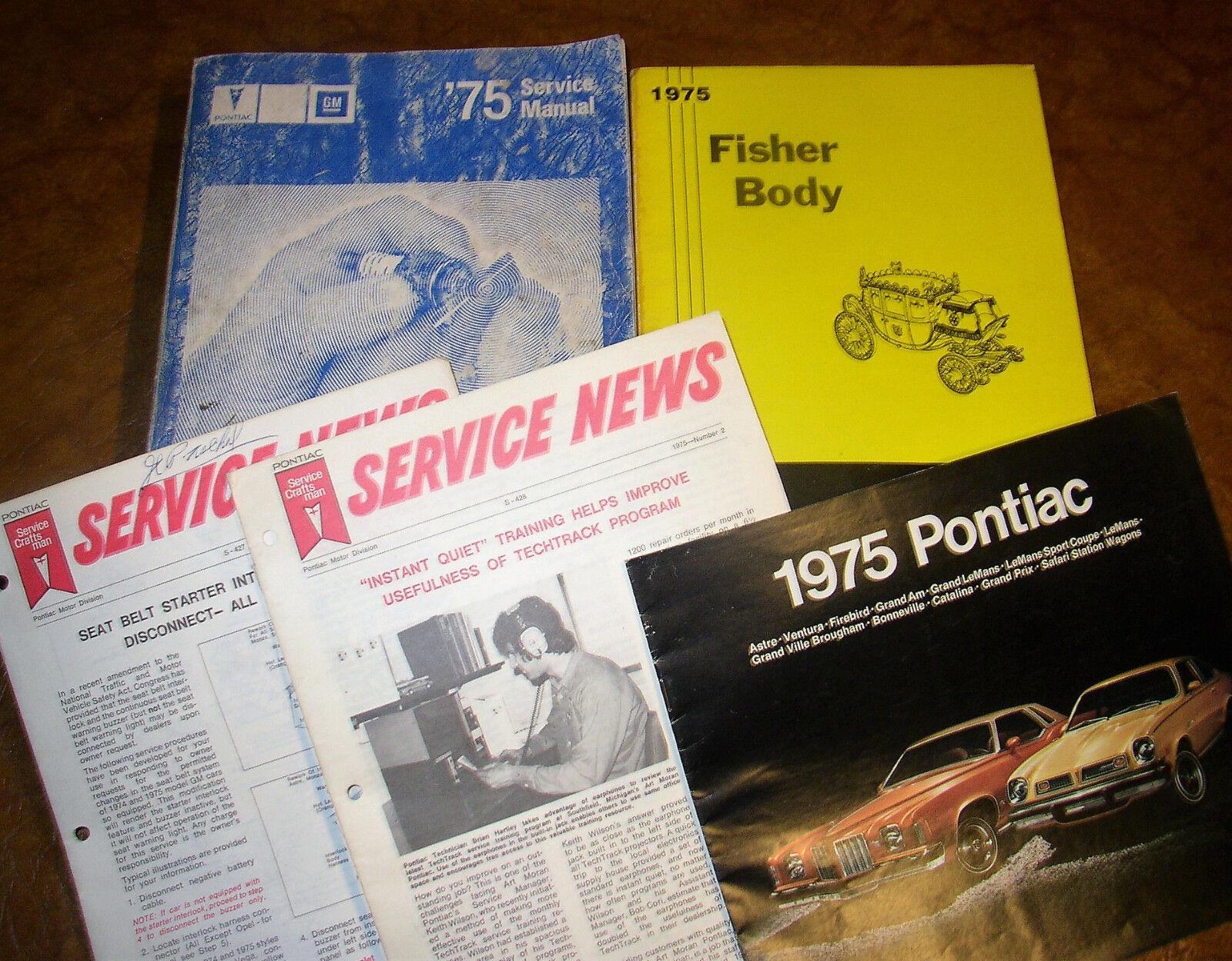 1975 Pontiac Service Manuals Firebird Grand Prix Bonneville Ville SJ Sport 4 Vol
