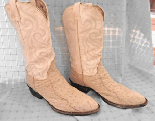Finns, Exotic, Boots, mens, 12, cowboy, western, full, quill, ostrich, leather, cream, tan