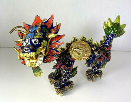 "Vintage Chinese Enameled Cloisonné Dragon 7.5"" x 4.75"" No Damage"