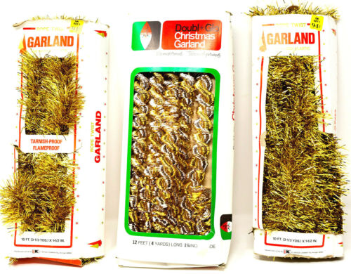 Retro Christmas Gold Garland Lot 3 VTG 70s DoublGlo Rope Twist Photo Booth Prop