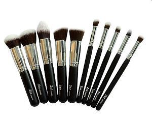 Maquillaje-en-Polvo-Base-De-Plata-Zoe-Kabuki-Pinceles-Set-plana-redonda-en-angulo-conico