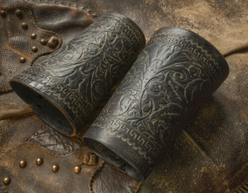 Antique Hand Tooled Black Leather Cowboy Cuffs