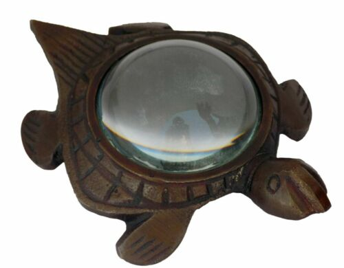 Antique Brass Magnifying Glass Magnifier Paperweight Tortoise Shaped Desk Top