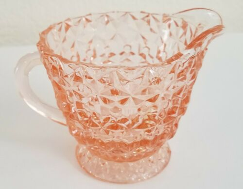 Jeanette Glass Buttons & Bows Pattern Pink Depression Glass Creamer