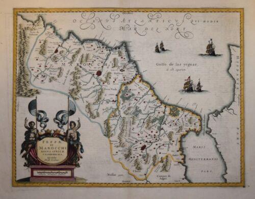 NORTH AFRICA - FEZZAE ET MAROCHI REGNA.. BY JANSSONIUS 1636.