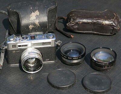 Yashica Electro 35 GS camera with 45mmF1.7 Yashinon DX lens + 2 Aux Lenses!!