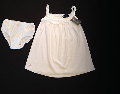 RALPH LAUREN  TOWELLING DRESS & PANT WHITE/PINK 12,24MTHS  RRP£49 NOW£23.50EACH