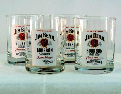 Jim Beam Kentucky Straight Bourbon Whiskey Drinking Glass White Label Logo Lot 4