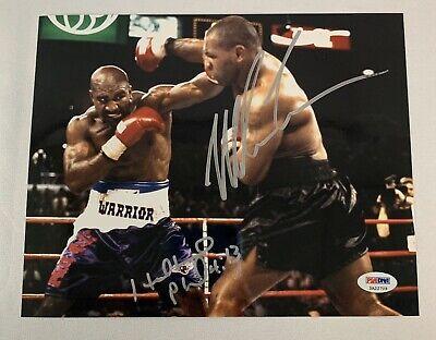 Mike Tyson Evander Holyfield Dual Signed 16x20 Ear Bite Reaction Photo JSA